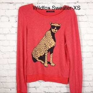 Wildfox Leopard With Sunglasses Orange Crewneck-XS